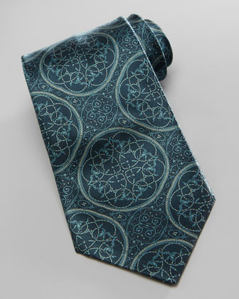 Large-Medallion Silk Tie, Dark Green