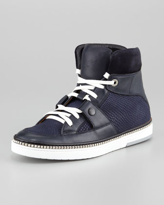 Viper-Print Leather High-Top Sneaker, Navy