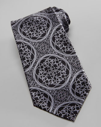 Large-Medallion Silk Tie, Black/Silver