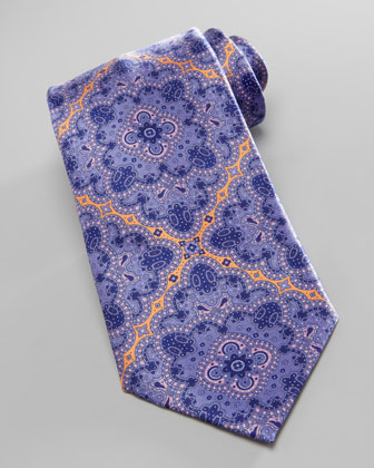 Large-Medallion Silk Tie, Purple