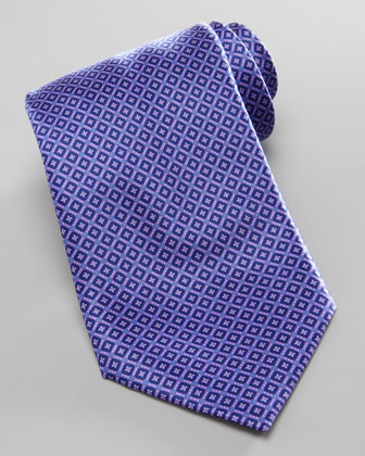 Micro-Square Neat Silk Tie, Purple