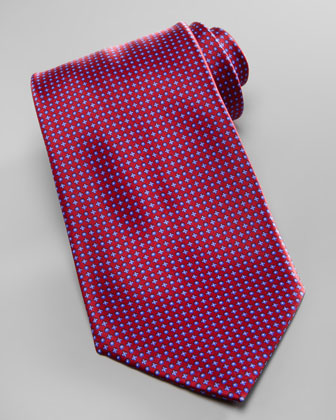 Micro-Dot Neat Silk Tie, Red