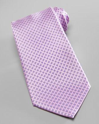 Micro-Medallion Silk Tie, Pink