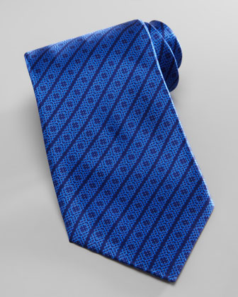 Square-Medallion Stripe Silk Tie, Blue
