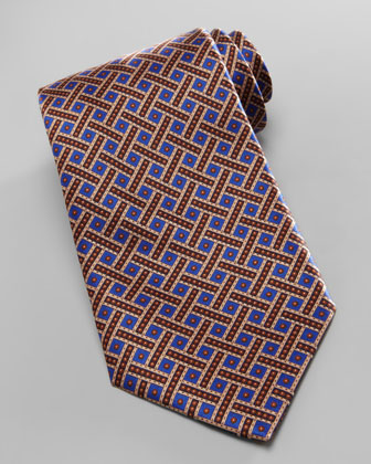 Weave & Dot Silk Tie, Blue/Gold