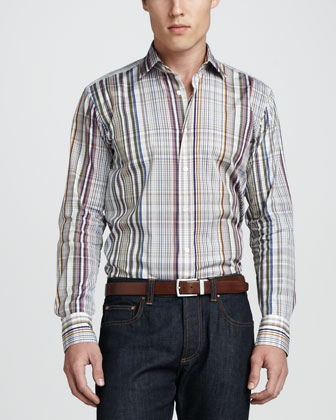 Patchwork Sport Coat, Multi-Plaid Sport Shirt & Basic-Fit Denim Jeans
