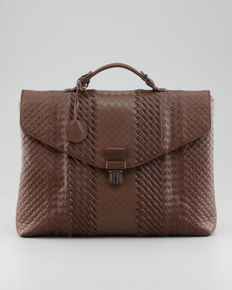 Mixed-Weave Leather Briefcase, Brown