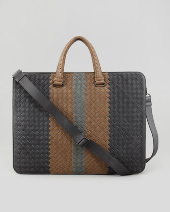 Woven Leather Tote, Grey/Tan/Green