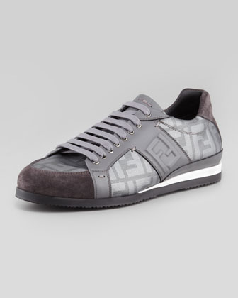 Metallic Zucca-Print Low-Top Sneaker, Silver
