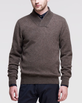 Shawl-Collar Cashmere Sweater, Brown