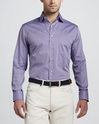 Goodwood Striped Sport Shirt, Eggplant