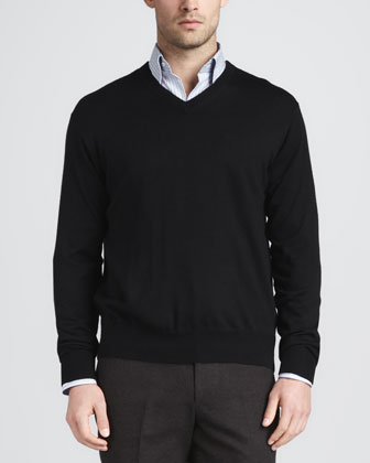 Merino V-Neck Sweater, Black