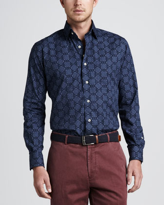 Newport Medallion-Print Sport Shirt, Navy