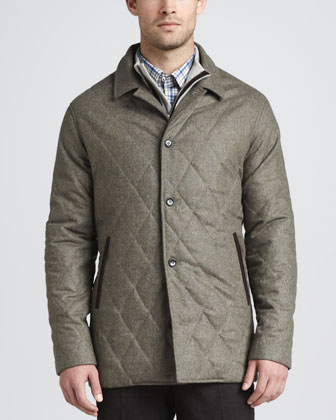 Brescia Quilted Coat, Hidden-Quarter-Zip Knit Sweater, Plaid Sport Shirt & ...