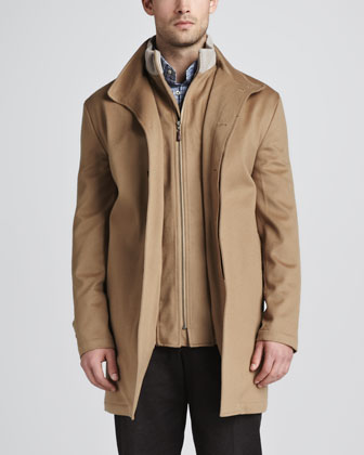 Sebastian Storm System Car Coat, Merino V-Neck Sweater, Saville Tattersall ...