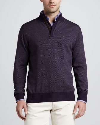 Birdseye Hidden-Zip Merino Sweater, Eggplant