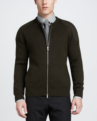 Zip-Sweater with Shoulder Patches, Green