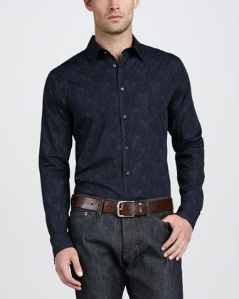 Paisley-Print Sport Shirt, Navy