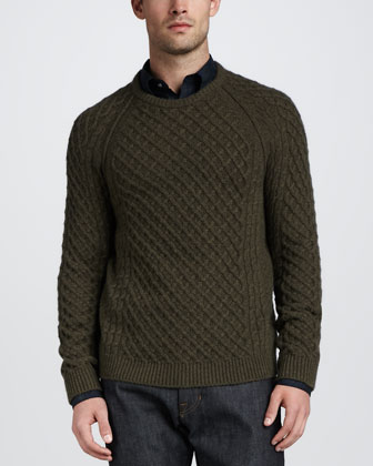 Fisherman Cable-Knit Sweater, Green