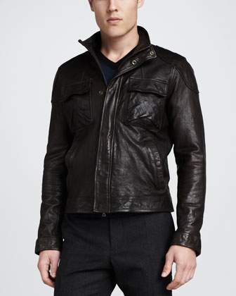 Leather Moto Jacket, Dark Brown