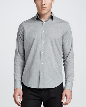 Heather Long-Sleeve Shirt, Gray
