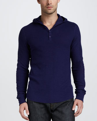 Slub Thermal Hooded Henley, Blue