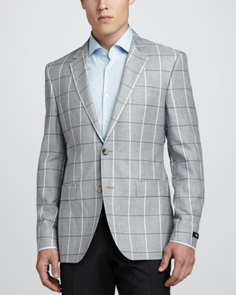 Windowpane-Check Suit Jacket, Gray/White