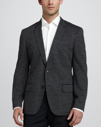 Hadley Two-Button Blazer, Charcoal