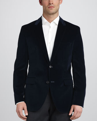 Keys Velvet Sport Coat, Blue