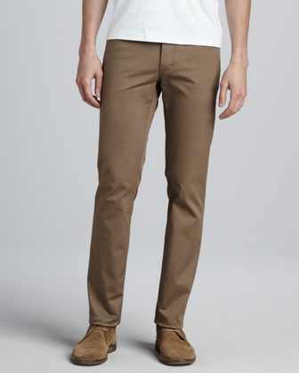 Five-Pocket Twill Pants, Khaki