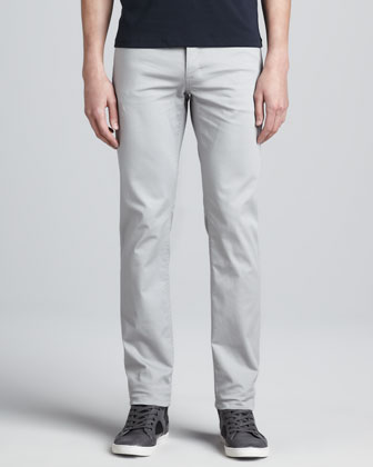 Five-Pocket Twill Pants, Light Gray