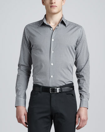 Gingham Sport Shirt, Black