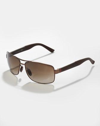 Rectangular Metal Sunglasses, Brown