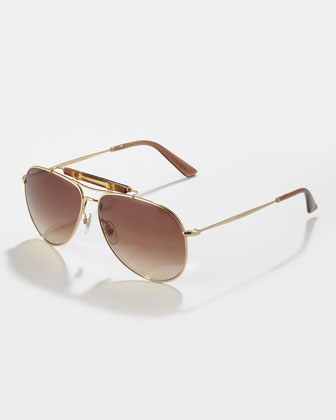 Bamboo Aviator Sunglasses, Golden