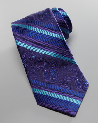Striped & Paisley Silk Tie, Purple