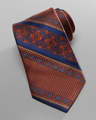 Patterned-Stripe Silk Tie, Blue