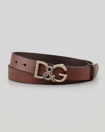 Leather Logo-Buckle Belt, Dark Brown