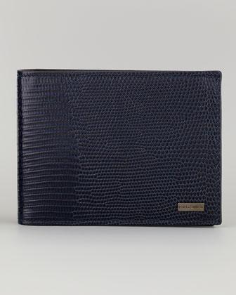 Classic Lizard-Stamped Logo Bi-Fold Wallet, Blue