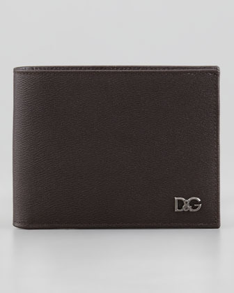 Plaque Logo Bi-Fold Wallet, Dark Brown