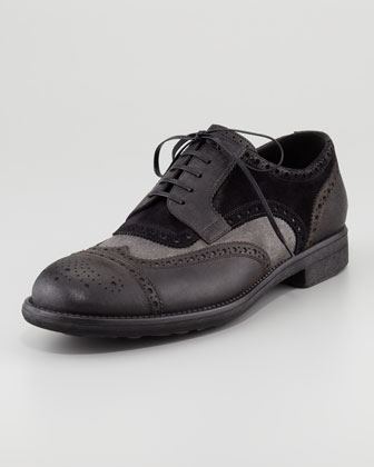 Wing-Tip Mixed-Media Lace-Up Brogue