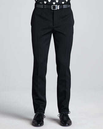 Flat-Front Carrot Leg Trousers, Black