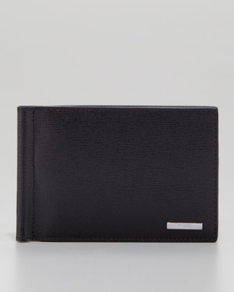 Saffiano Wallet with Money Clip, Black/Blue