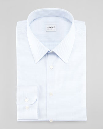 Micro-Check Dress Shirt, Blue/White