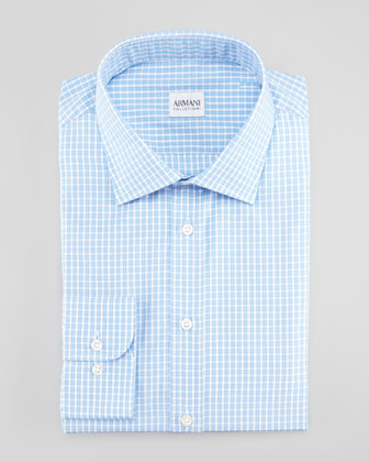 Modern-Fit Check Dress Shirt, Blue/White