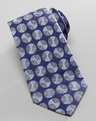 Circle-Medallion Jacquard Tie, Blue