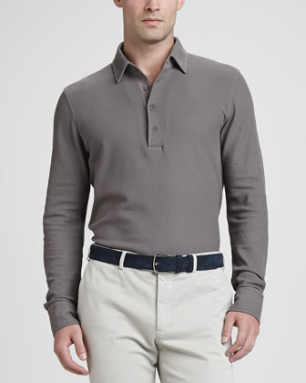 Long-Sleeve Pique Polo, Gray