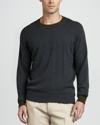 Seamless Crewneck Sweater, Blue Ashed