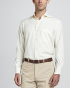 Alain Long-Sleeve Woven-Silk Shirt, Nougat