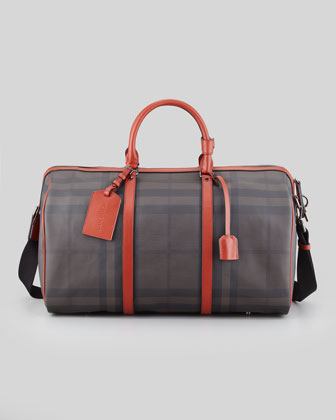 Men's Coated Check Duffel Bag, Gray/Rust