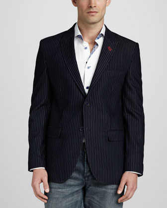 Francesco Velvet Striped Blazer, Navy